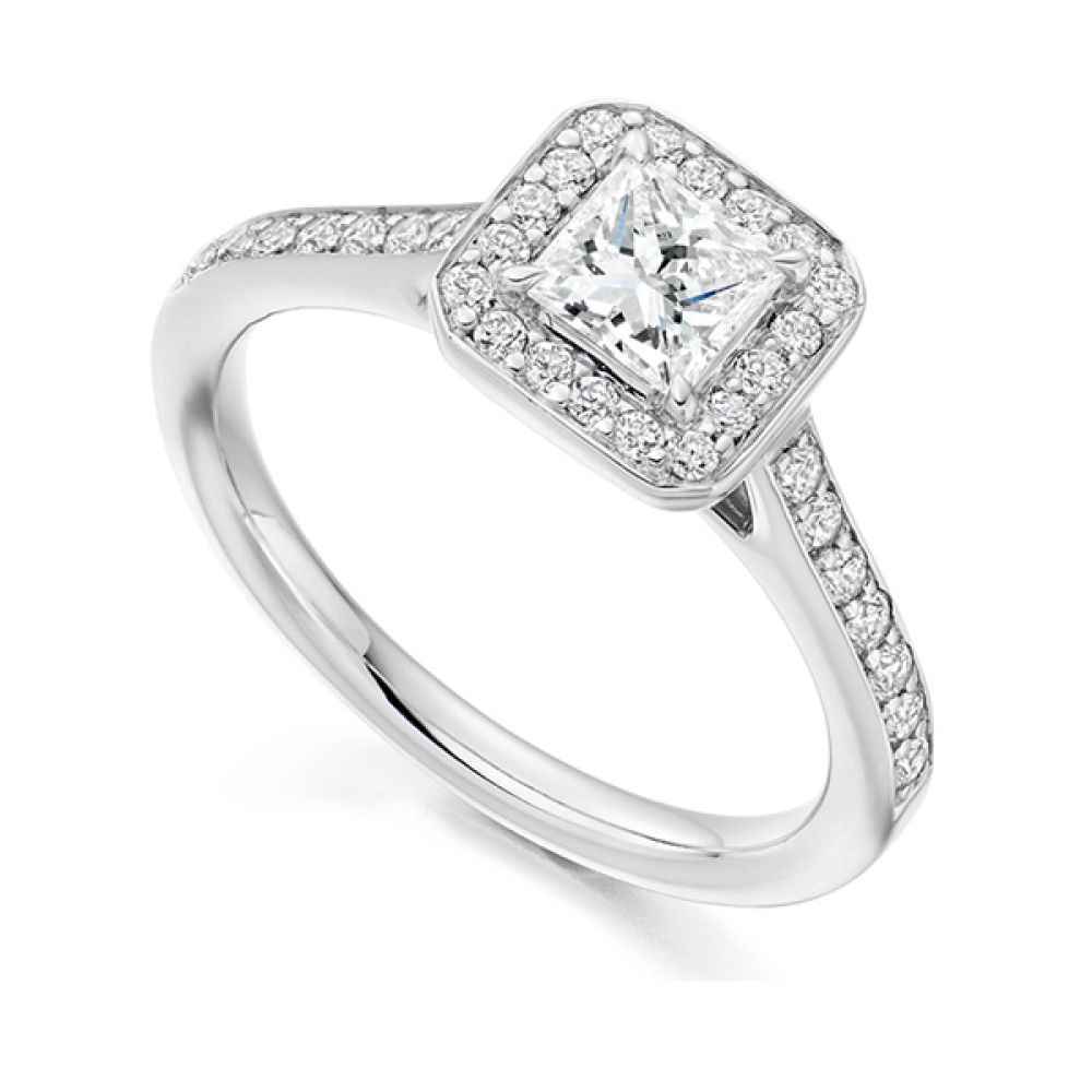 Princess Diamond Halo Engagement Ring - White