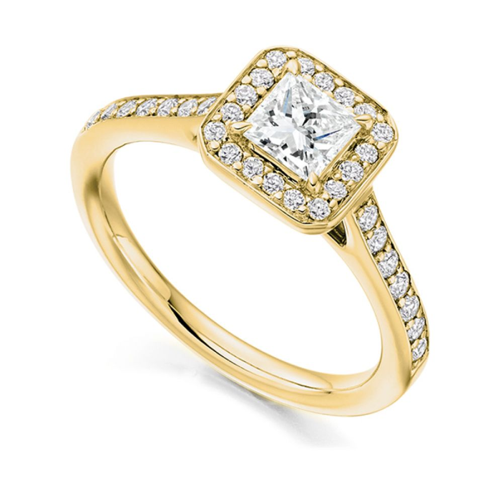 Princess Diamond Halo Engagement Ring - Yellow