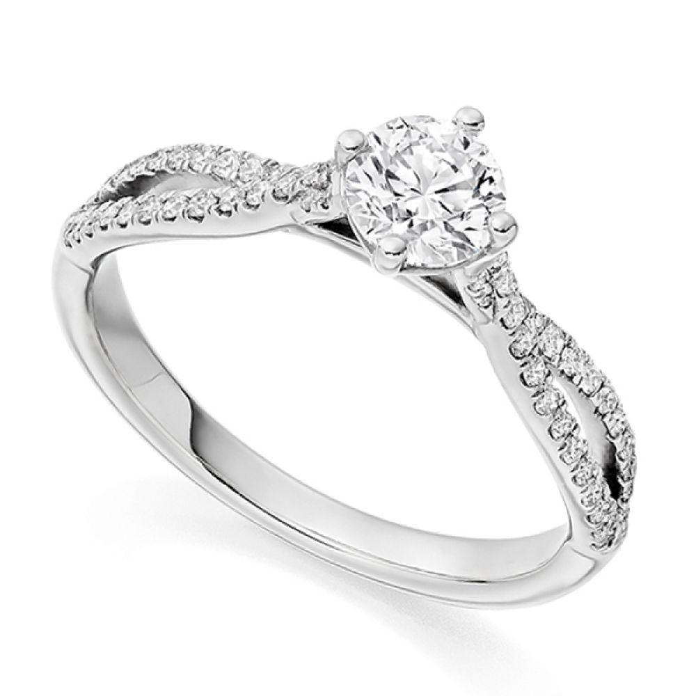 Vintage Double Diamond Shoulder Engagement Ring