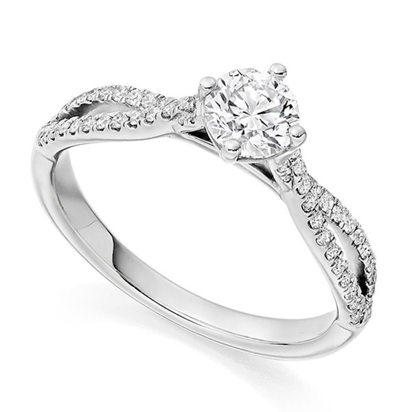 Vintage Double Diamond Shoulder Engagement Ring Main Image