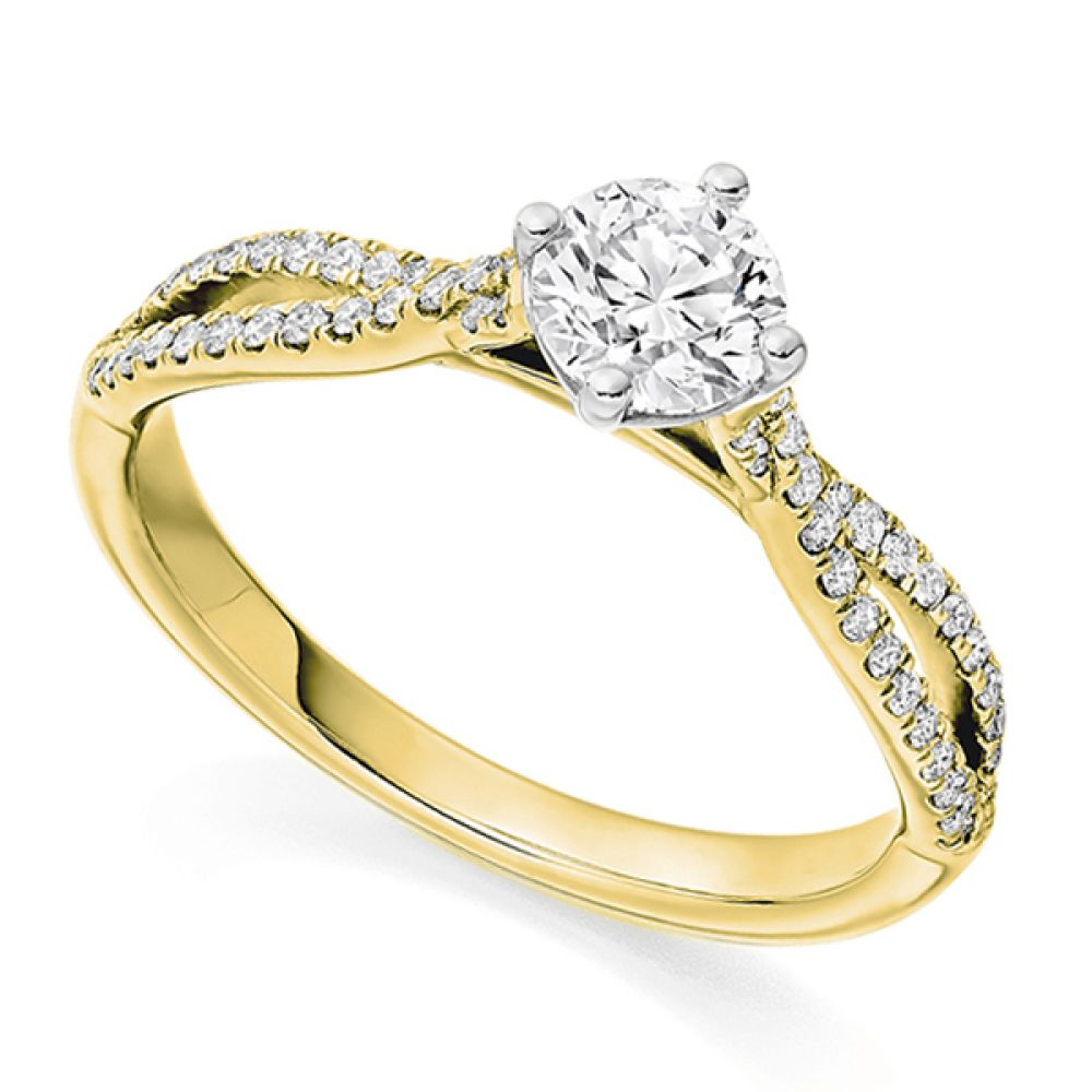 Vintage Double Diamond Shoulder Engagement Ring Yellow and White