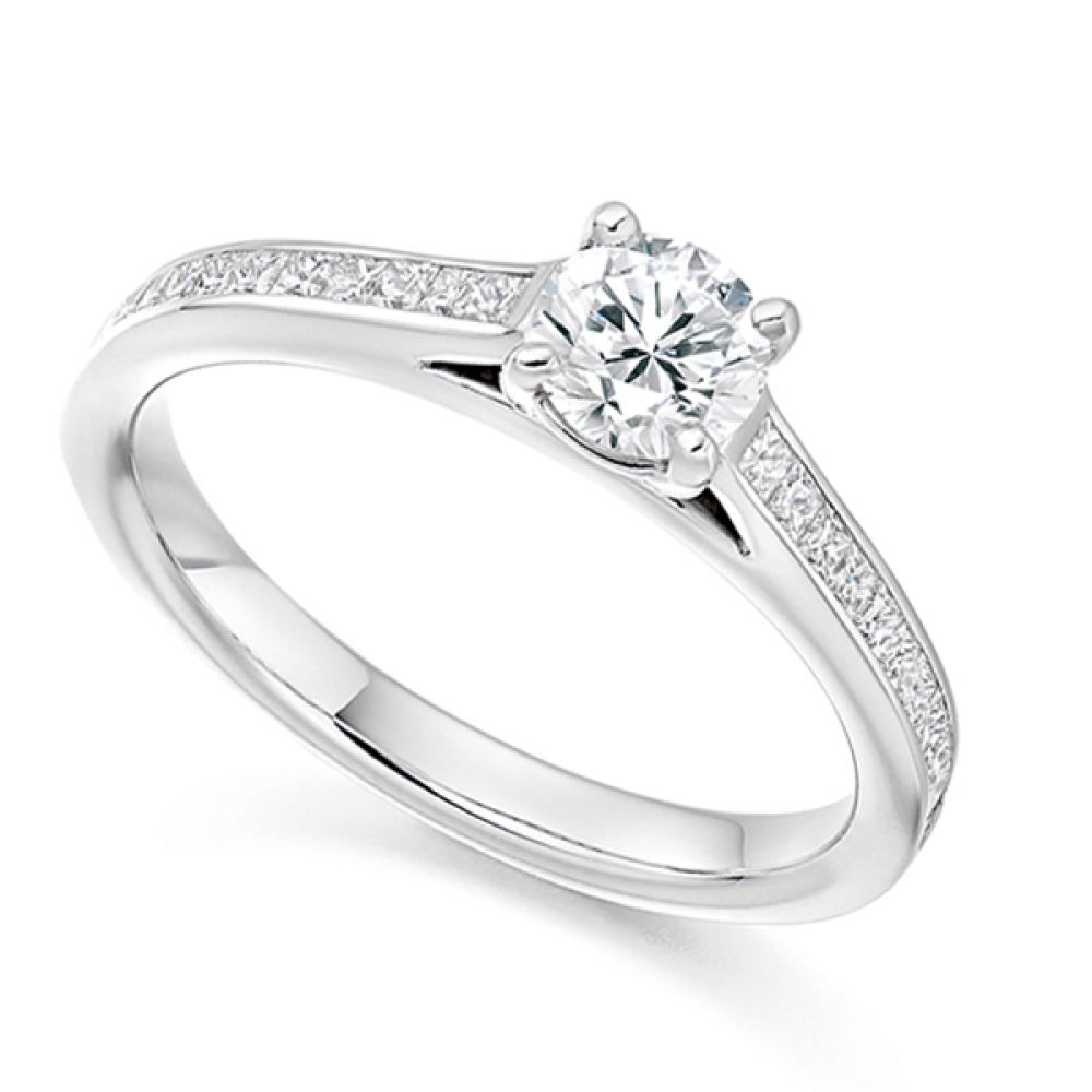 4 Claw Round Engagement Ring with Princess Shoulders