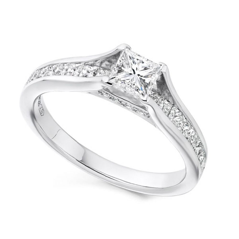 Unique Princess Cut Engagement Ring with Diamond Shoulders