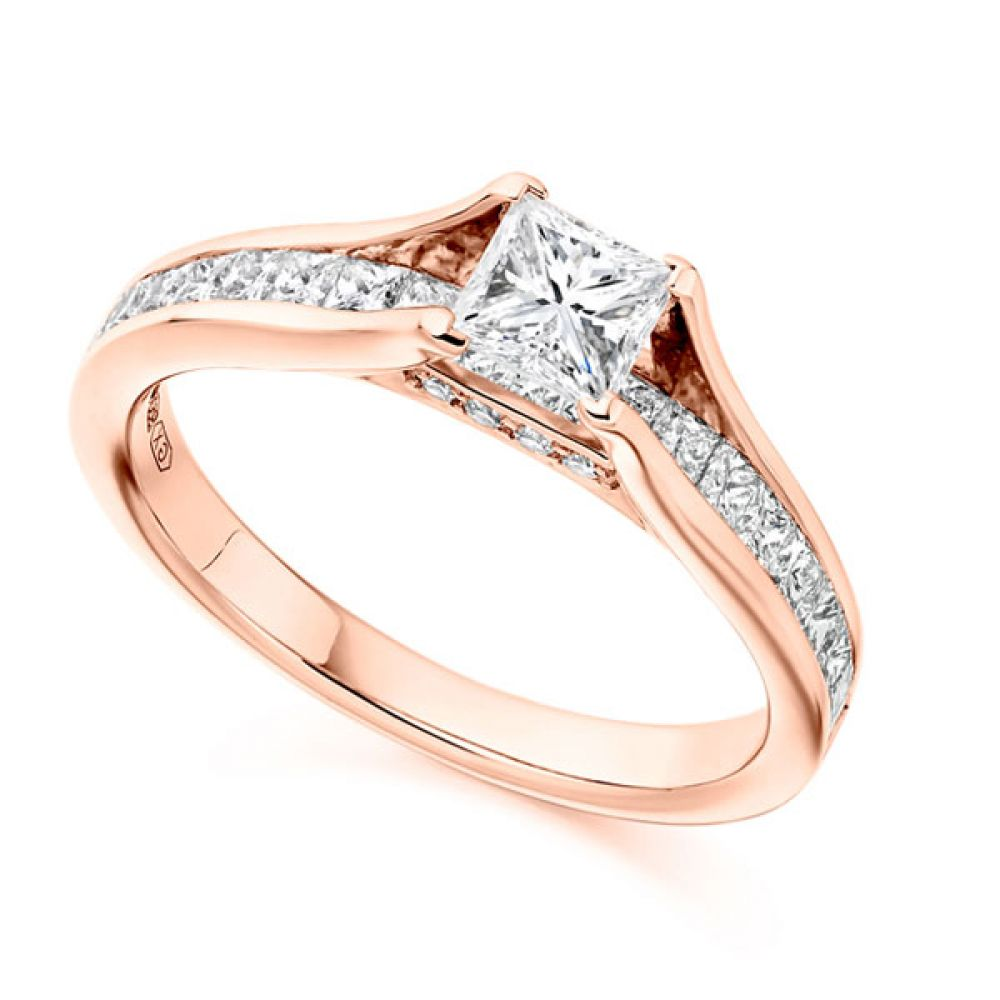 Unique Princess Cut Engagement Ring with Diamond Shoulders Shown On Finger