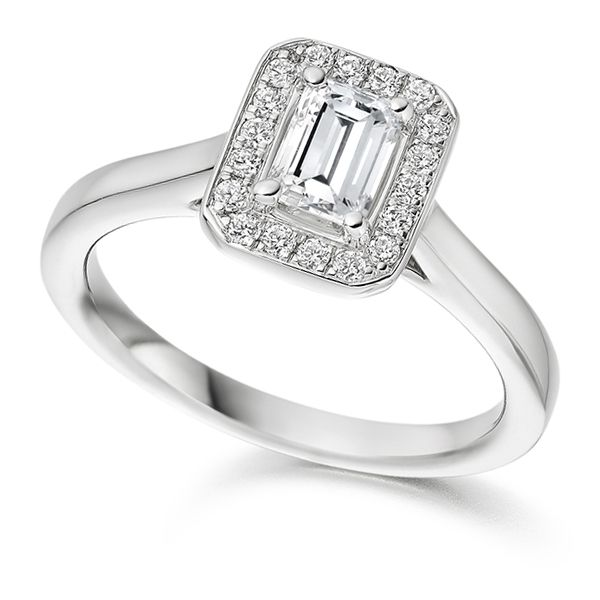 Maisie Emerald Cut Halo Ring Main Image