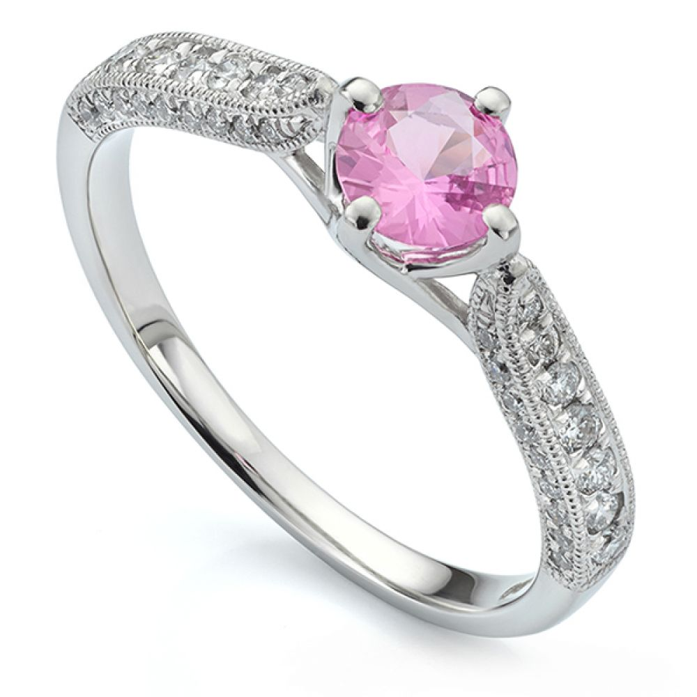 Vintage Solitaire Engagement Ring with Pink Sapphire