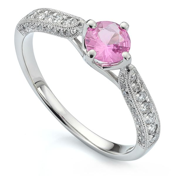Vintage Style Pink Sapphire Engagement Ring Main Image
