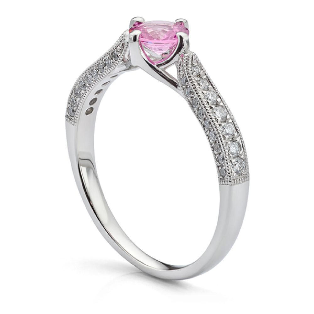 Vintage Solitaire Engagement Ring with Pink Sapphire Side View