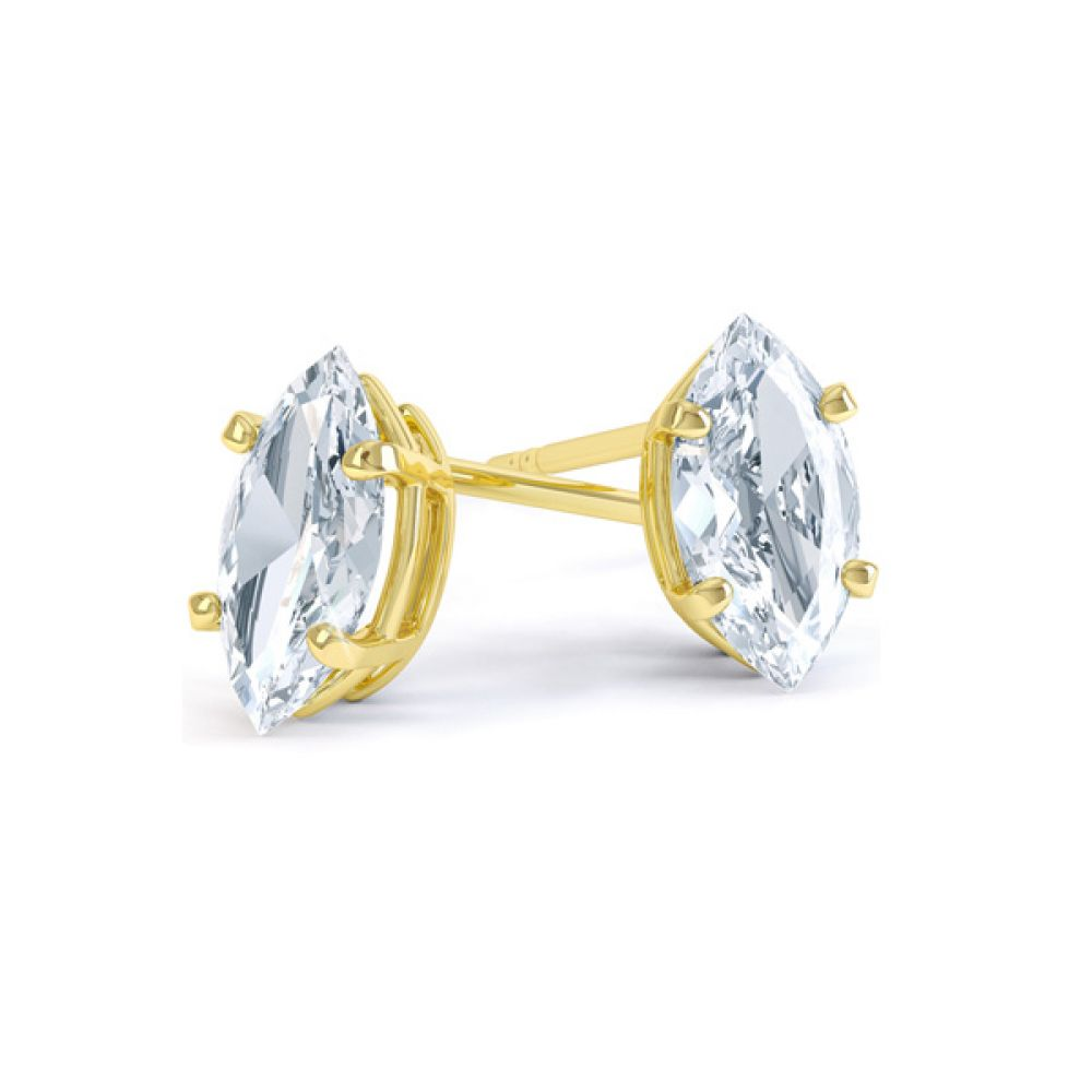 4 Claw Marquise Diamond Stud Earrings In Yellow Gold