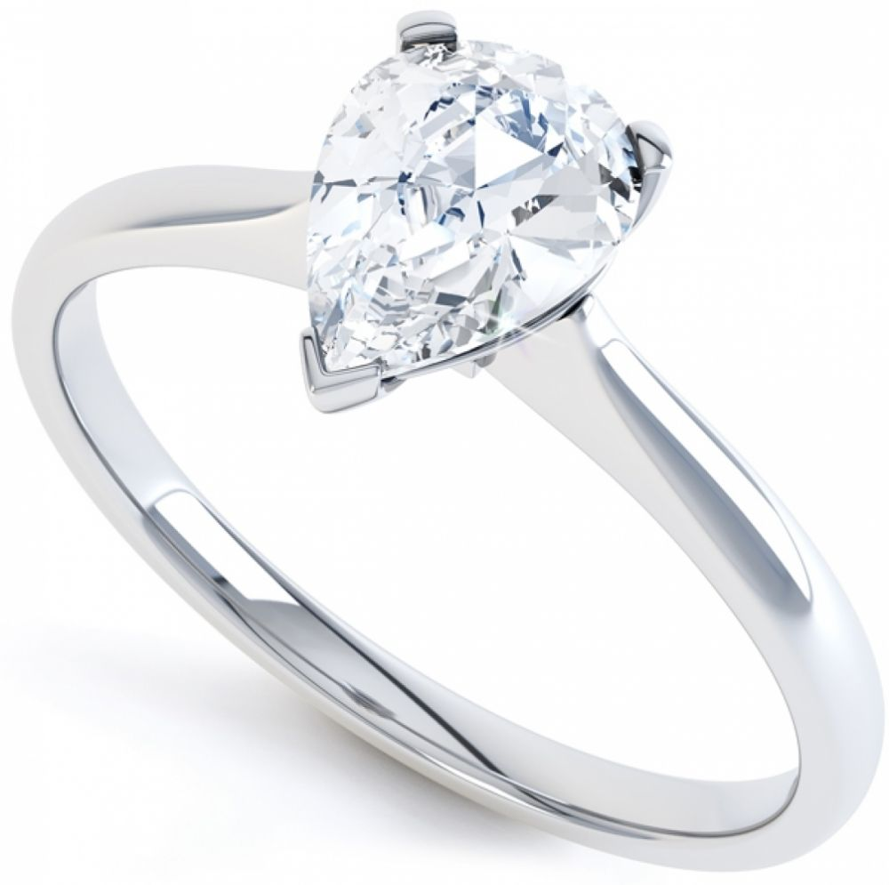 3 Claw Pear Shape Diamond Solitaire Ring