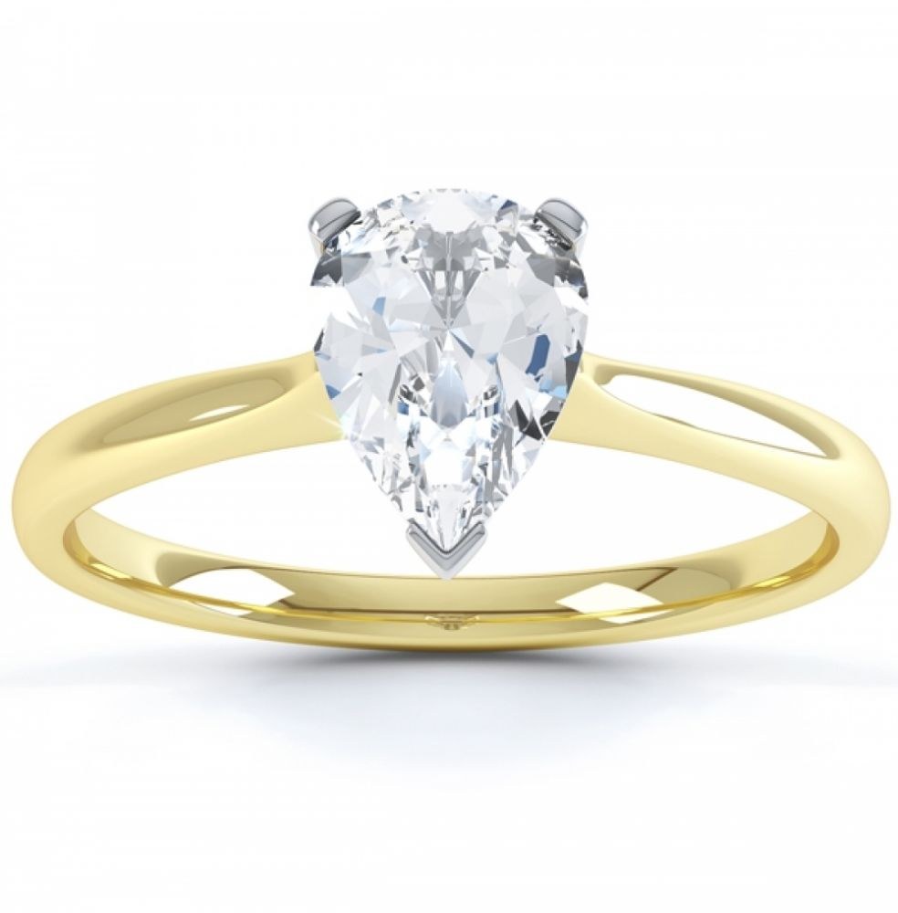 3 Claw Pear Shape Diamond Solitaire Ring In Yellow Gold