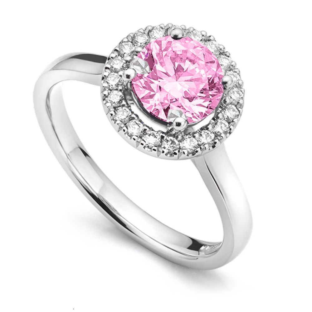 Pink Sapphire & Diamond Halo Engagement Ring