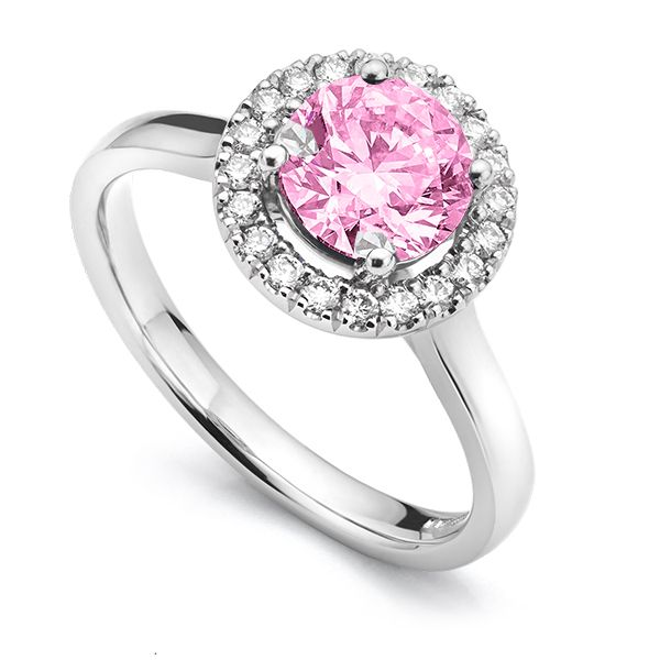 Pink Sapphire & Diamond Halo Engagement Ring Main Image