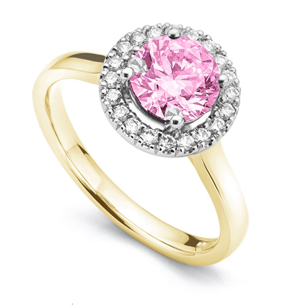 Pink Sapphire & Diamond Halo Engagement Ring Yellow