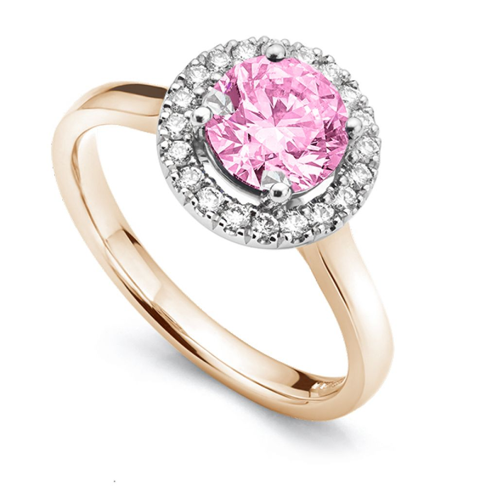 Pink Sapphire & Diamond Halo Engagement Ring Rose