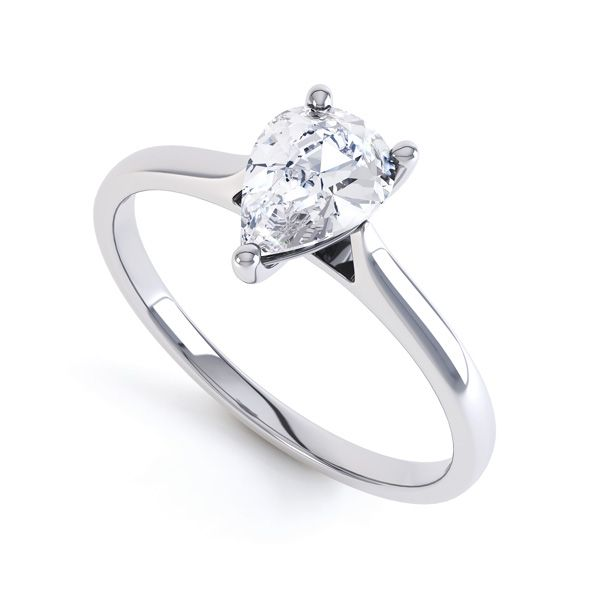Round Claw Pear Shaped Solitaire Engagement Ring Main Image