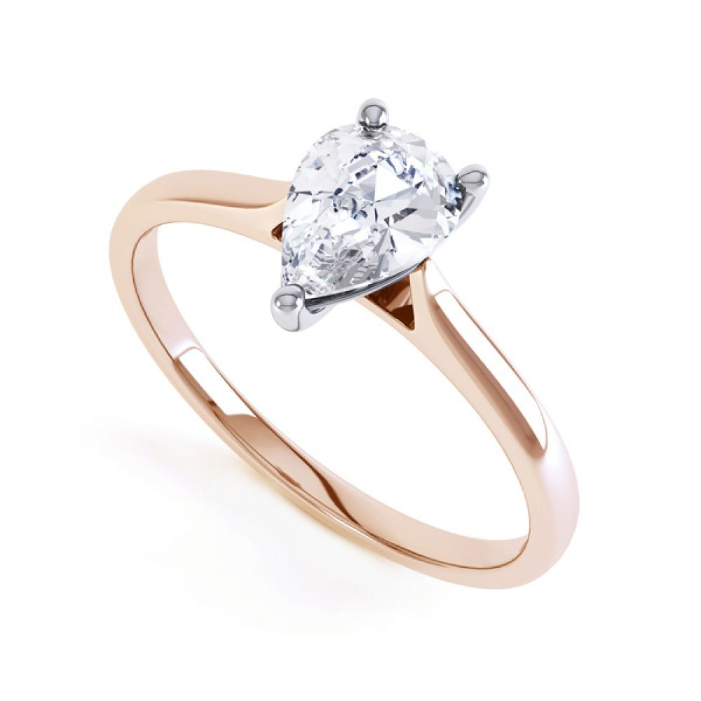 Round Claw Pear Shaped Solitaire Engagement Ring In Rose Gold