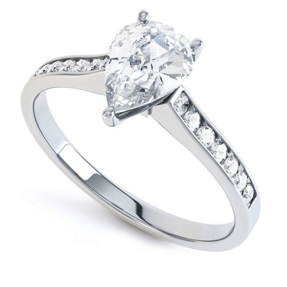Pear-Shaped Diamond Engagement Ring with Diamond Shoulders