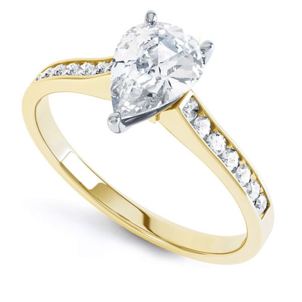 Pear-Shaped Diamond Engagement Ring with Diamond Shoulders In Yellow Gold
