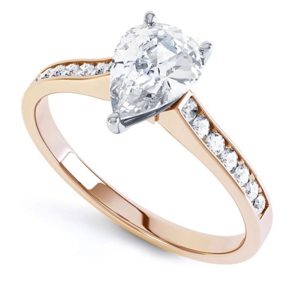 Pear-Shaped Diamond Engagement Ring with Diamond Shoulders In Rose Gold