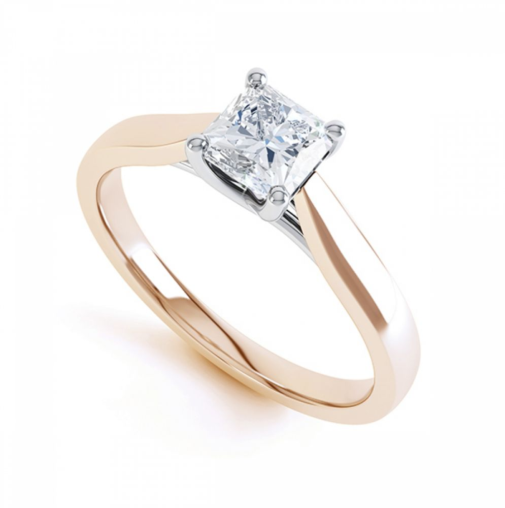 Radiant Cut Diamond Solitaire 4 Claw Engagement Ring Front View
