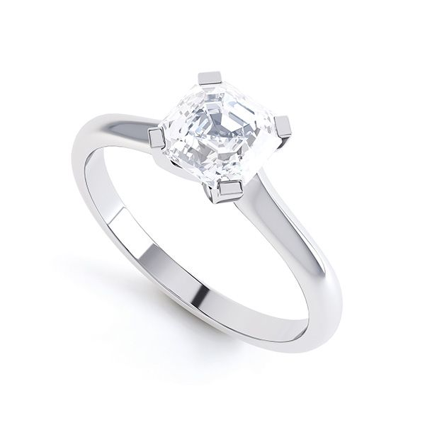Asscher Diamond Solitaire Ring with 4 Square Claws Main Image