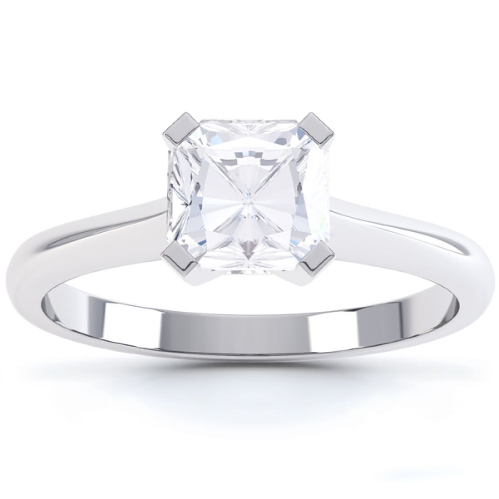 4 Claw Radiant Cut Diamond Solitaire Ring Front View