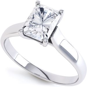 Rectangular Radiant Cut Diamond Engagement Ring Main Image