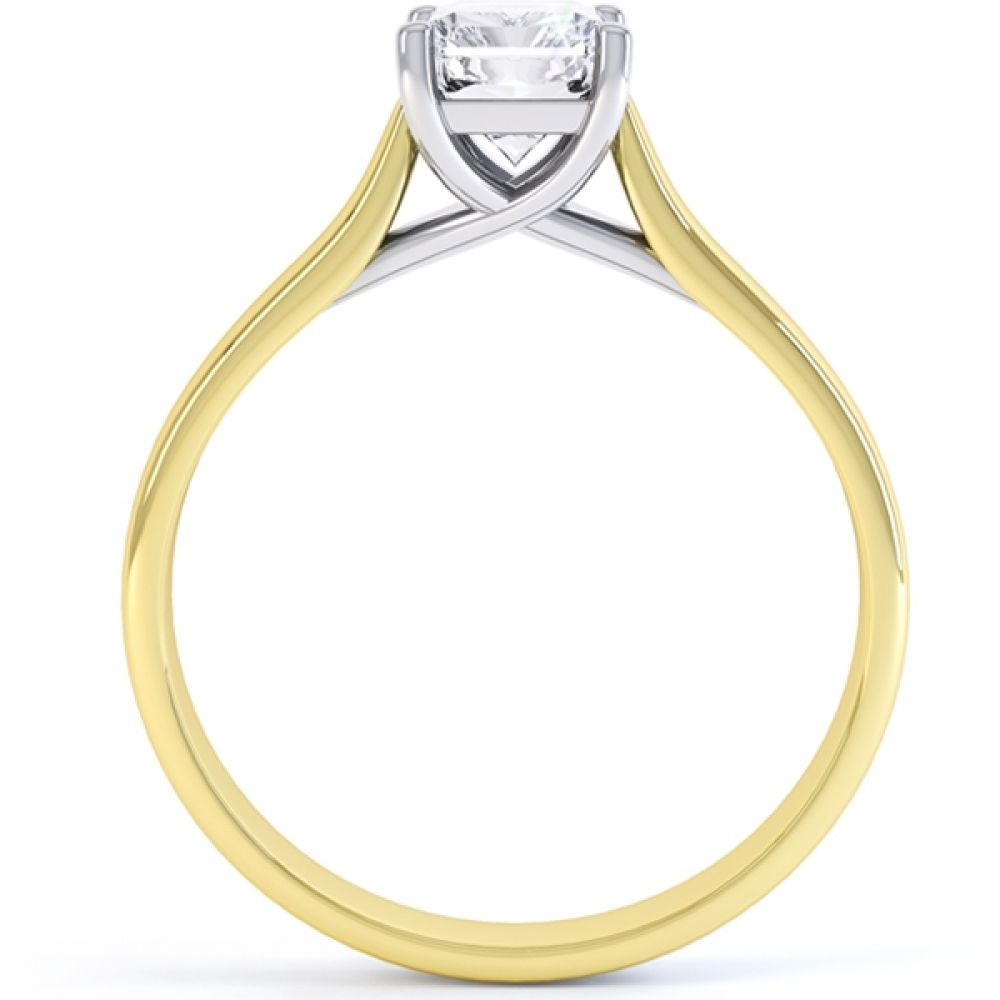 Rectangular Radiant Cut Diamond Engagement Ring In Yellow Gold
