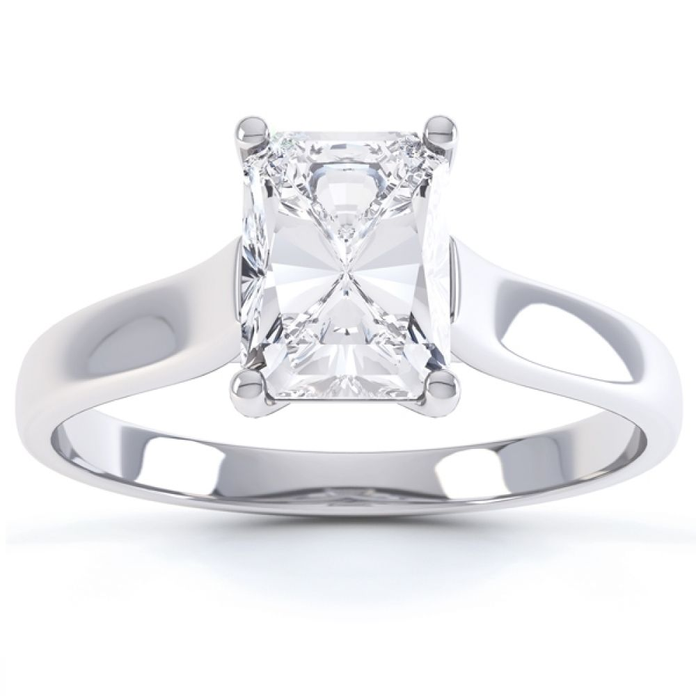 Rectangular Radiant Cut Diamond Engagement Ring Front View