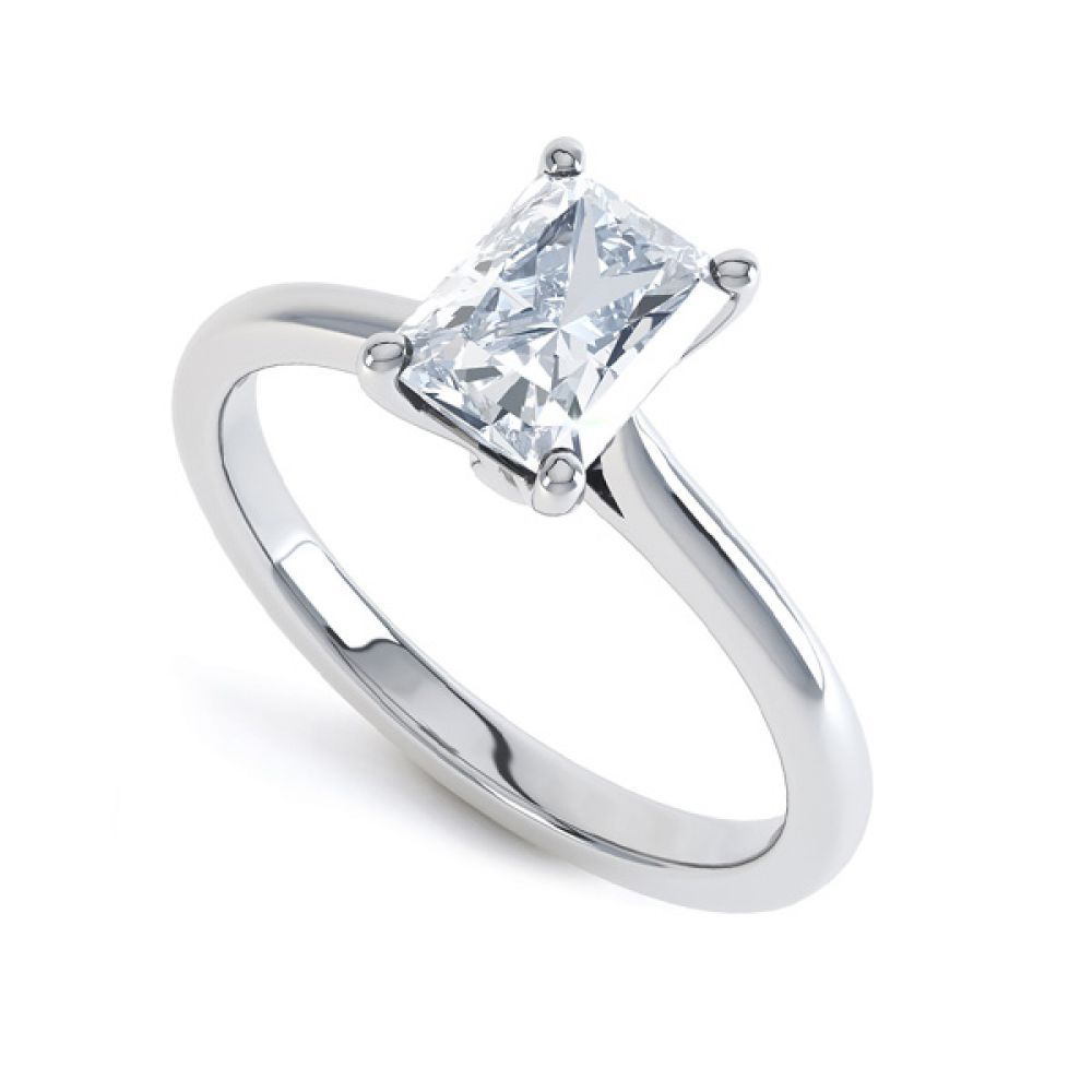 Rectangular Radiant Diamond Solitaire Engagement Ring