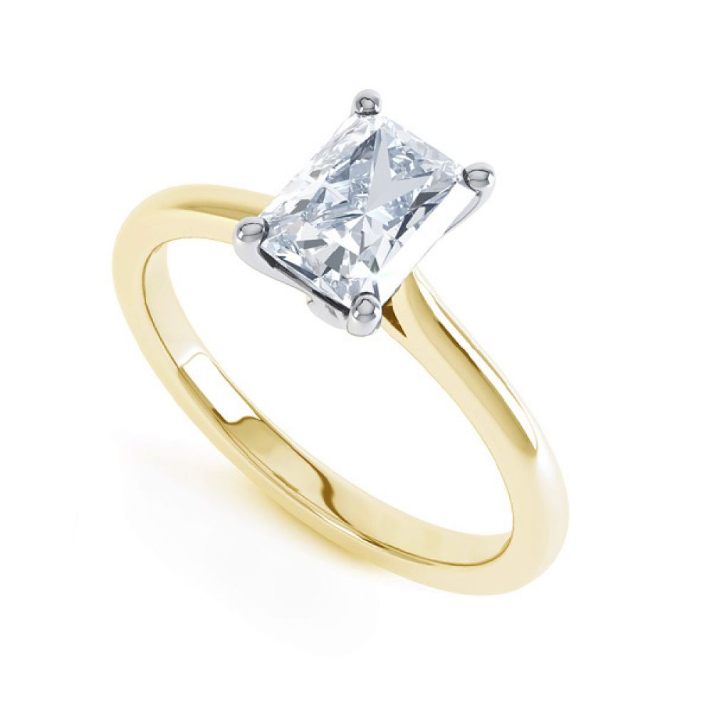 Rectangular Radiant Diamond Solitaire Engagement Ring In Yellow Gold
