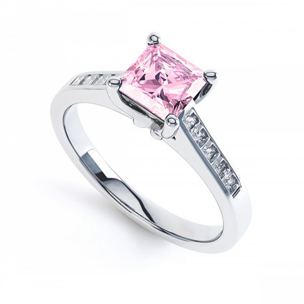 Pink Fliss Princess diamond engagement ring with diamond shoulders white gold pink sapphire