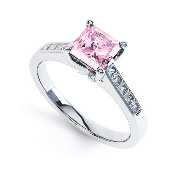 Square Pink Sapphire Engagement Ring with Diamond Shoulders Main Image