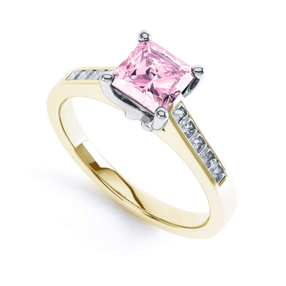 Pink Fliss Princess diamond engagement ring with diamond shoulders yellow gold pink sapphire