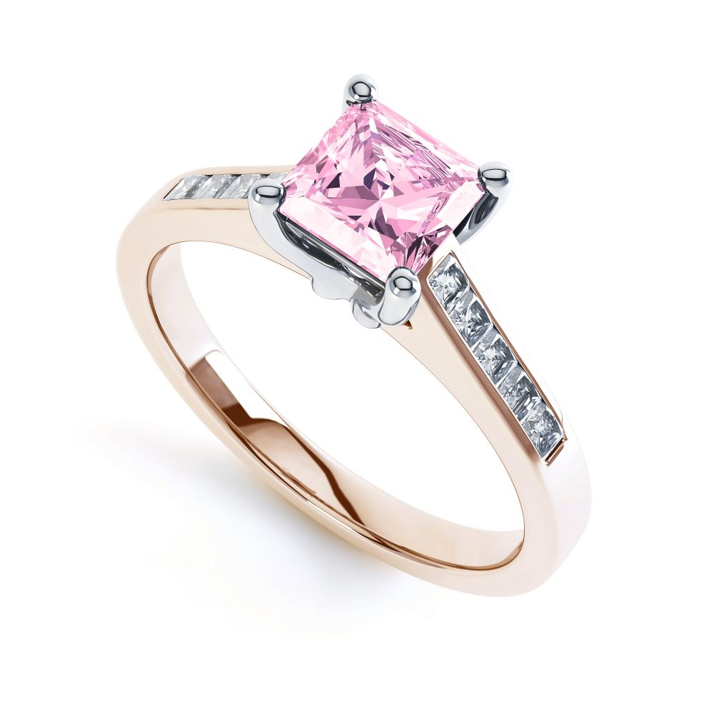 Pink Fliss Princess diamond engagement ring with diamond shoulders rose gold pink sapphire
