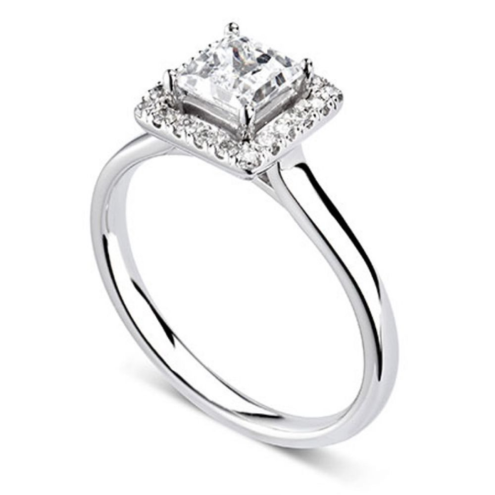 Square Princess Cut Diamond Halo Engagement Ring