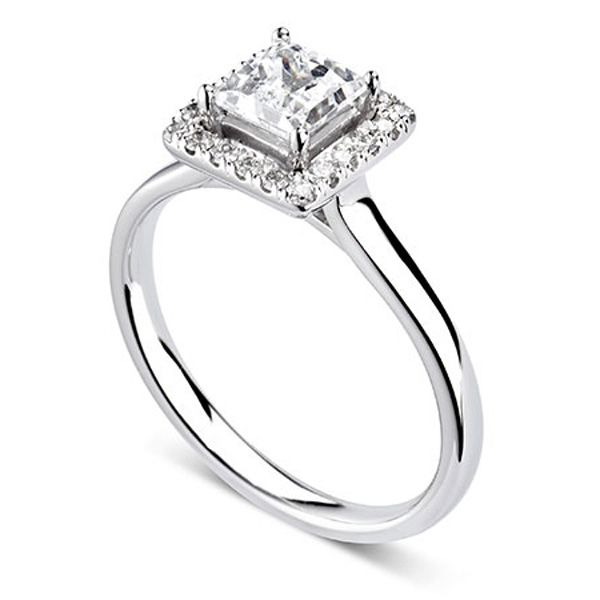 Agatha Princess Diamond Halo Ring Main Image