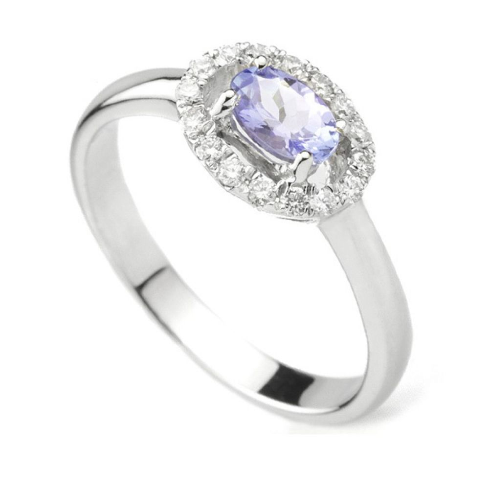 Tanzanite Oval and Diamond Cluster