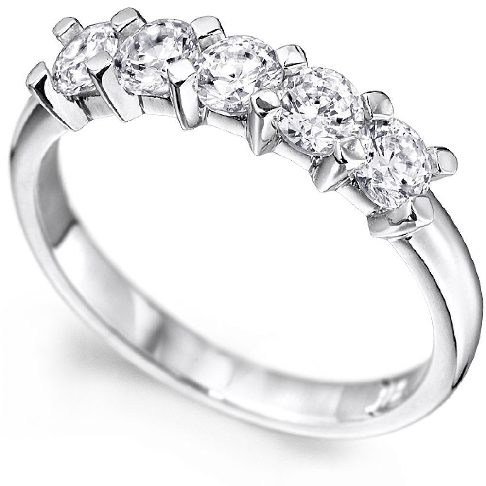 0.30cts 5-Stone Diamond Ring With Square Claw Setting