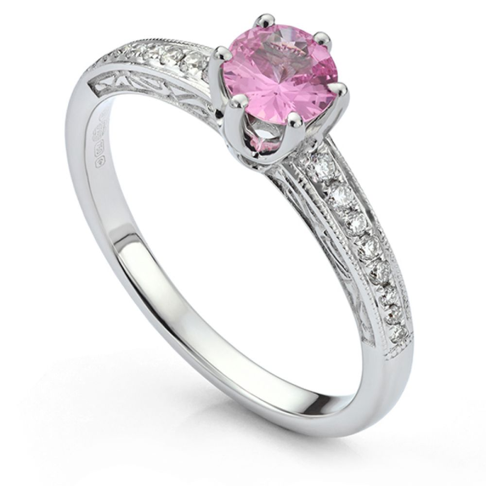 Vintage 6 Claw Diamond Engagement Ring with pink sapphire