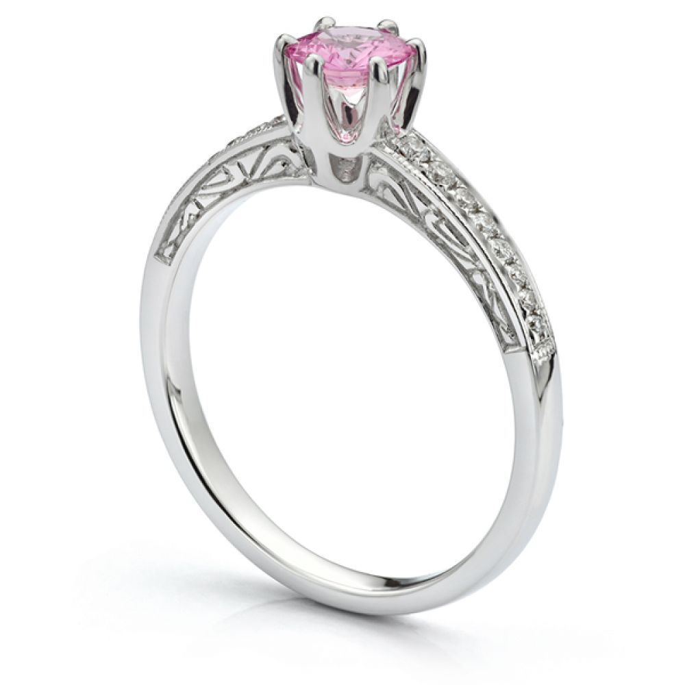 Charleston vintage pink sapphire engagement ring side view