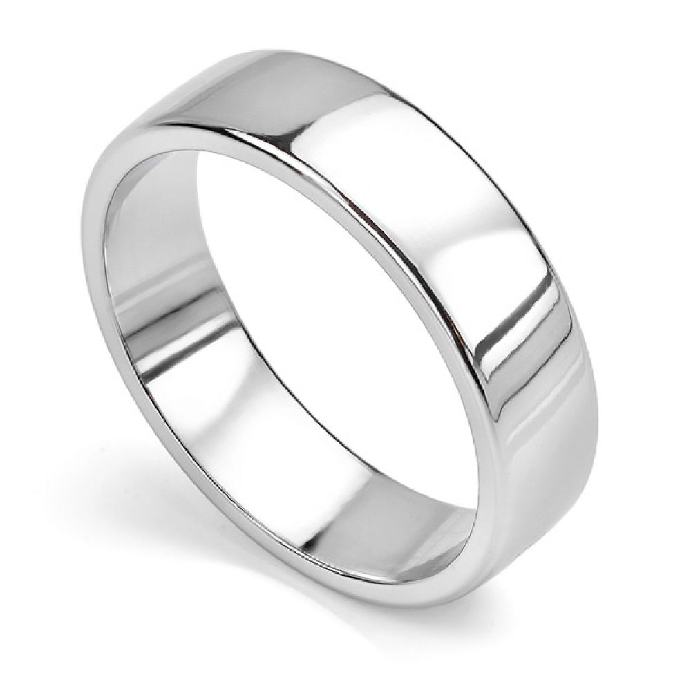 Court wedding ring with flat outer edge white gold 6mm