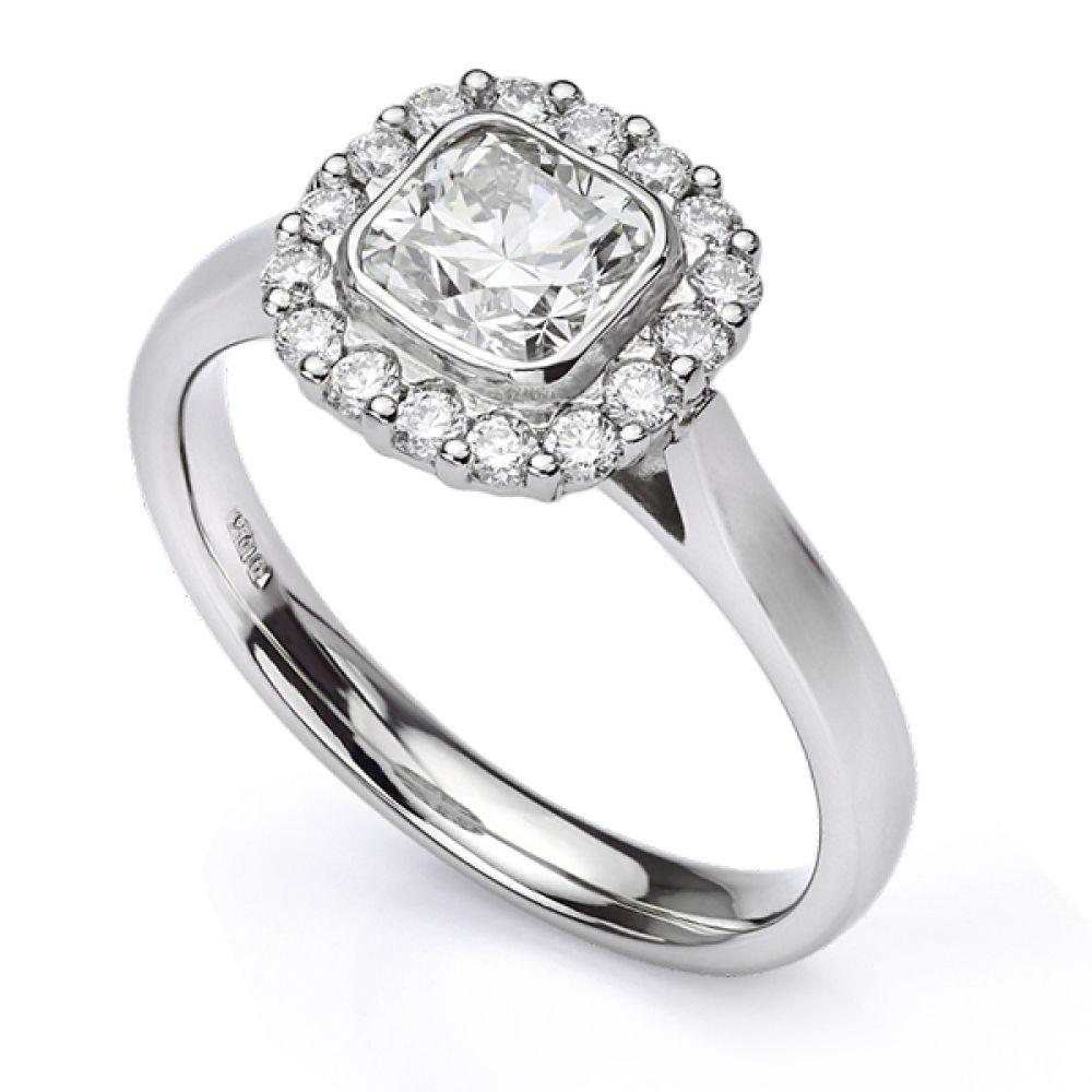 Bezel Set Cushion Diamond Halo Engagement Ring