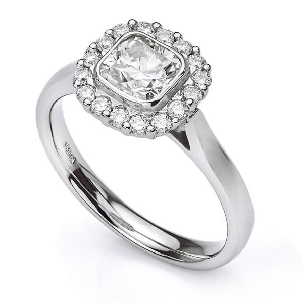 Cushion Cut Diamond Halo Ring Main Image