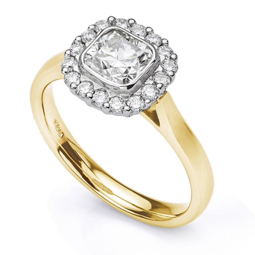 Eclipse Cushion cut halo engagement ring in Yellow Gold