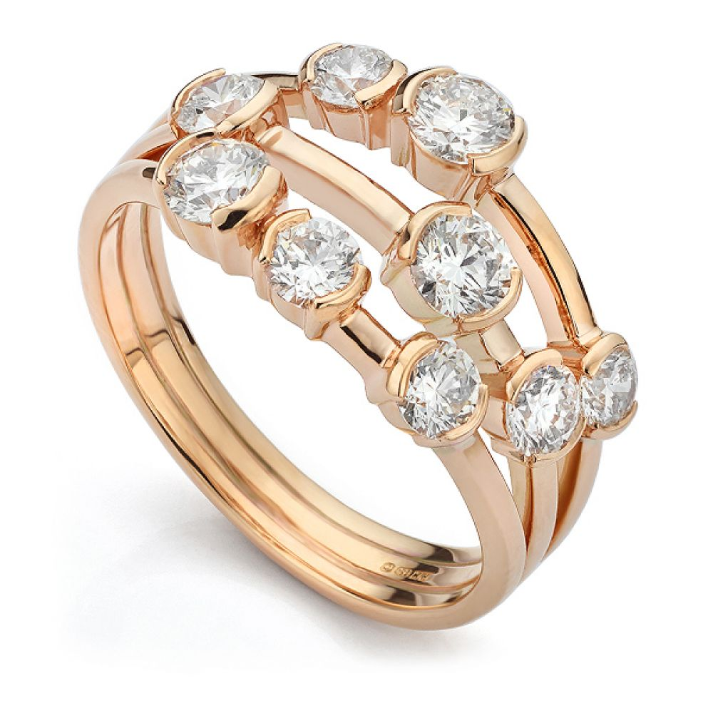 Three Row Diamond Scatter Ring