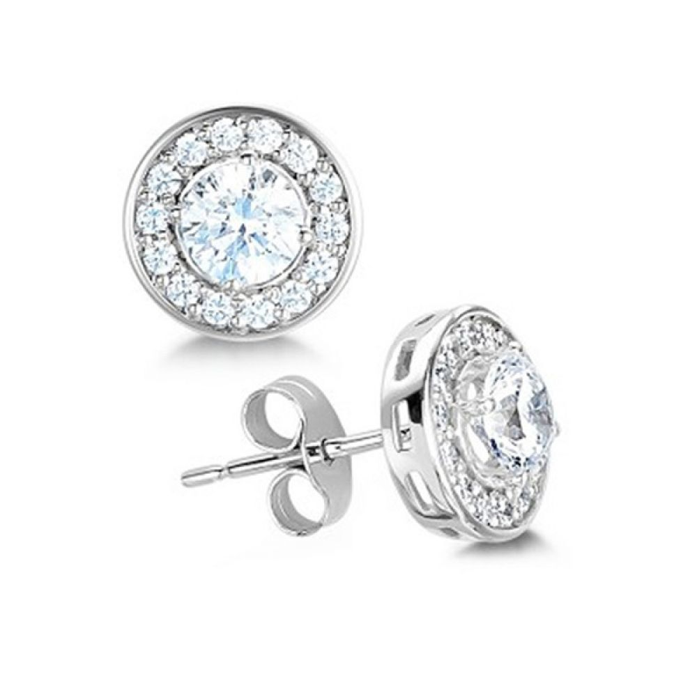 Round Brilliant Cut Diamond Halo Earrings