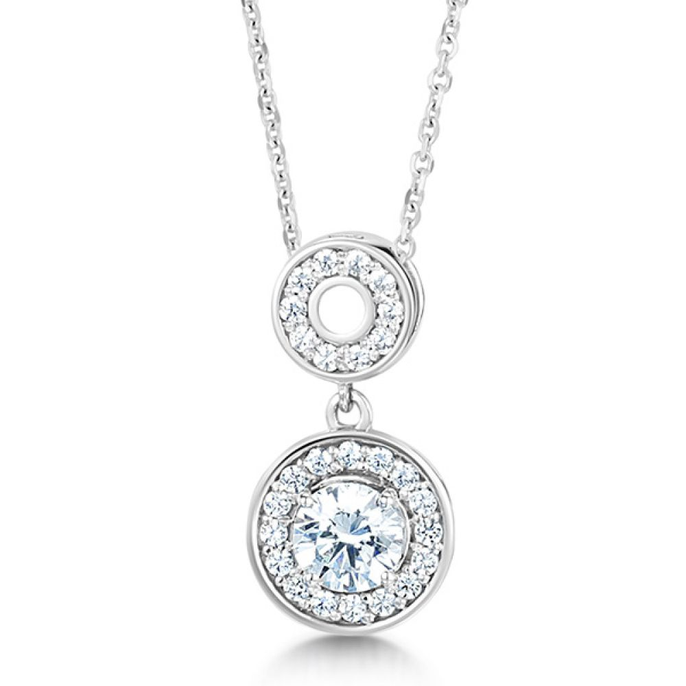 Round Brilliant Cut Double Halo Diamond Pendant