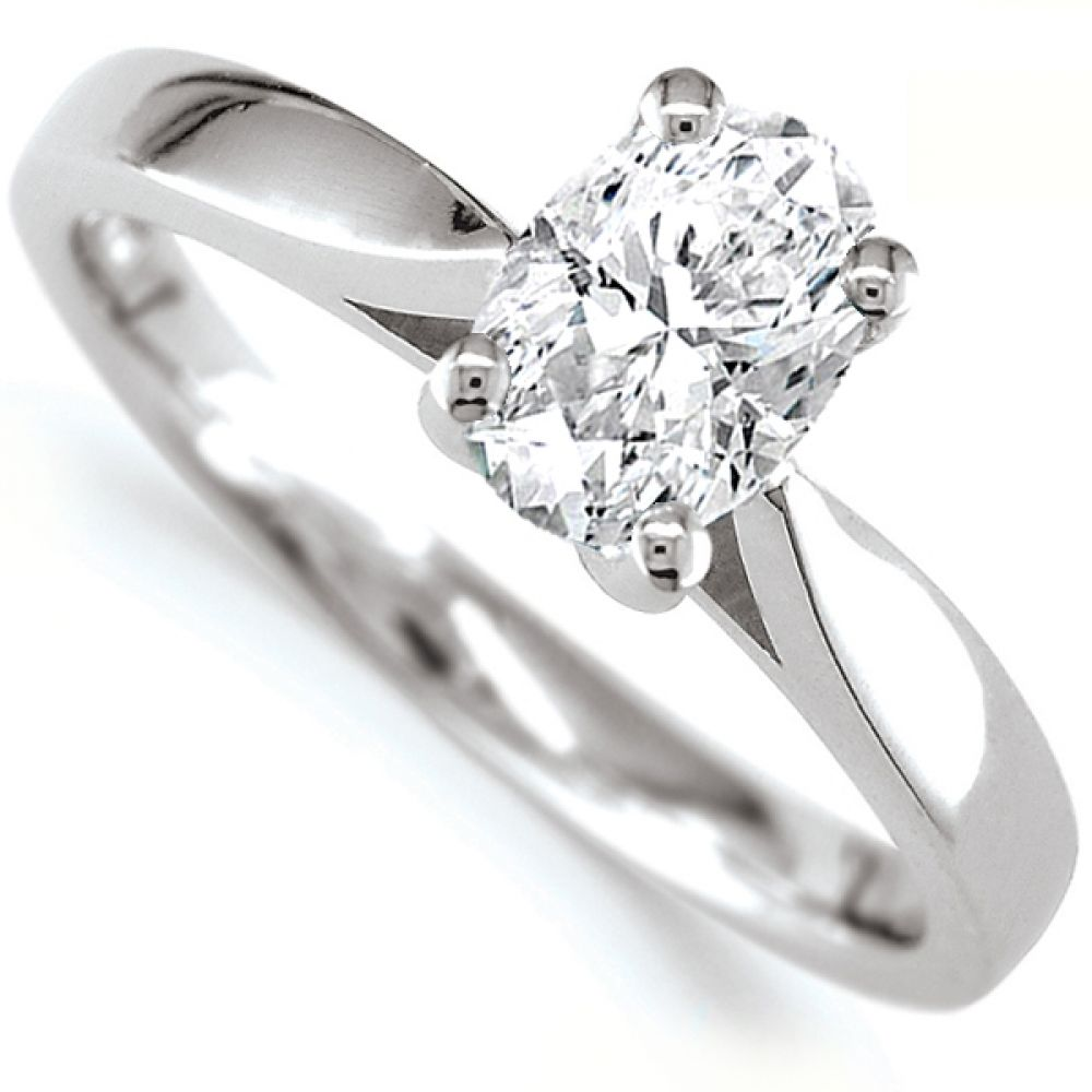 0.80cts JSI2 Oval Diamond Solitaire Engagement Ring